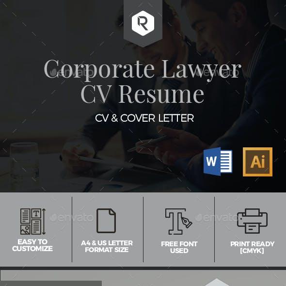 Corporate Lawyer CV Resume Template