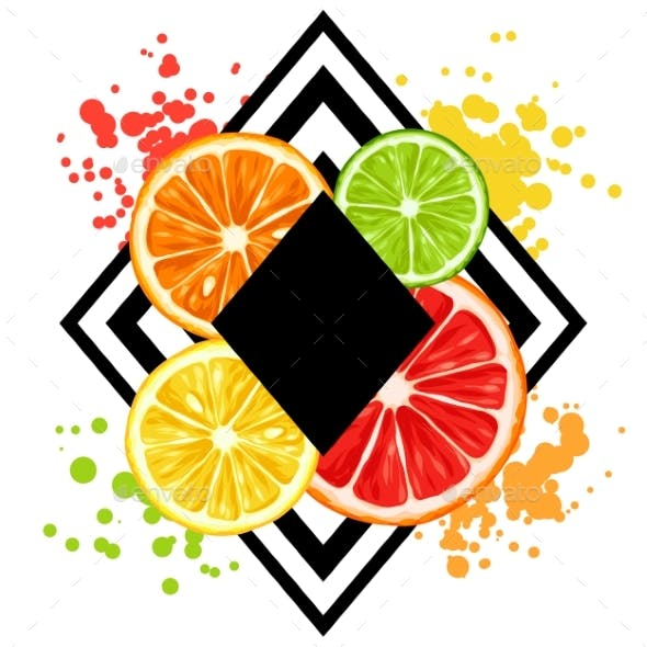 Print with Citrus Fruits Slices. Mix of Lemon Lime