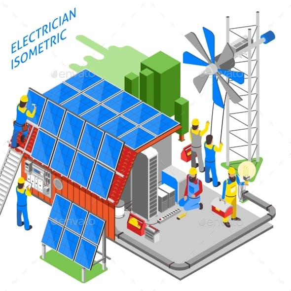 Electrician People Isometric Composition