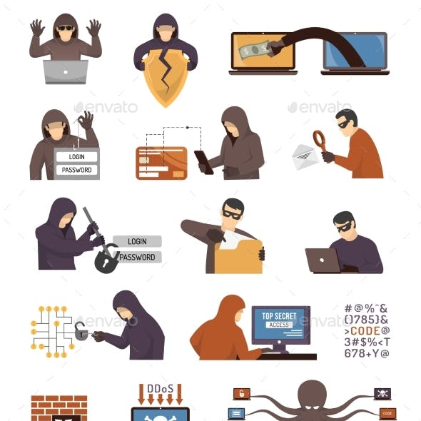 Internet Security Hackers Flat Icons Set