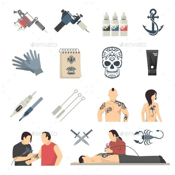 Tattoo Studio Flat Icons Collection