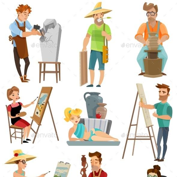 Artist Cartoon Set