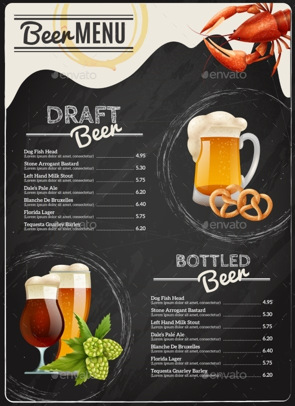 Beer Chalkboard Menu - Retail Commercial / Shopping