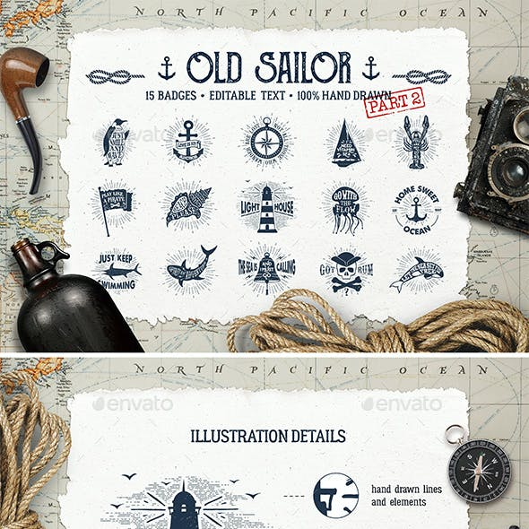 Old Sailor Vintage Badges Vol.2