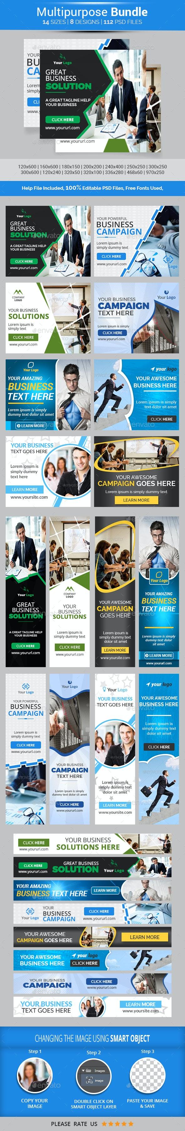 Business Banners Bundle-8 Design v2 - Banners & Ads Web Elements