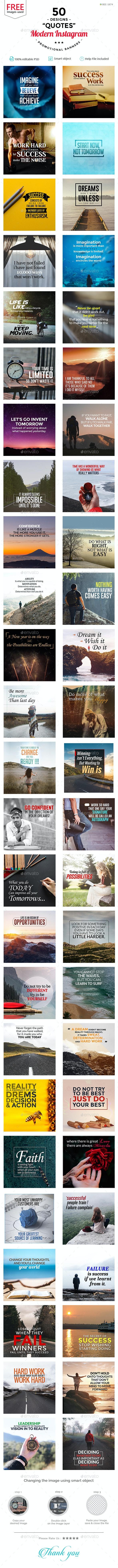 Quotes Instagram Templates - 50 Designs - Miscellaneous Social Media