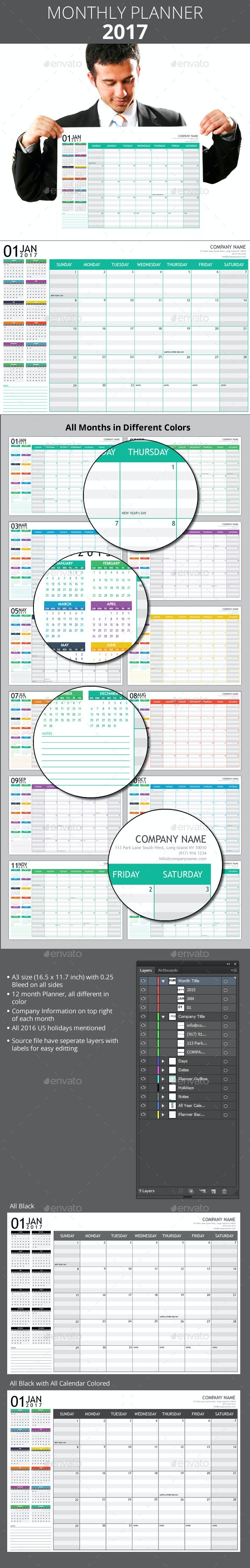 Monthly Planner 2017 + A3 Poster - Calendars Stationery