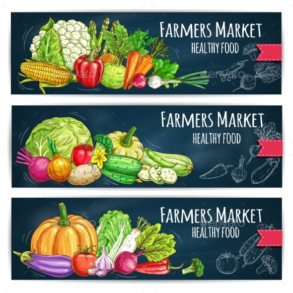 Farmers Market Banners with Sketched Vegetables