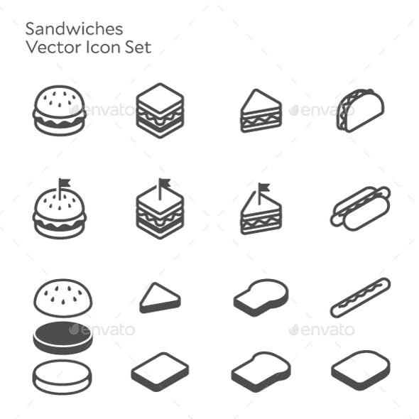 Sandwich Burger Hotdog Vector Icon Set