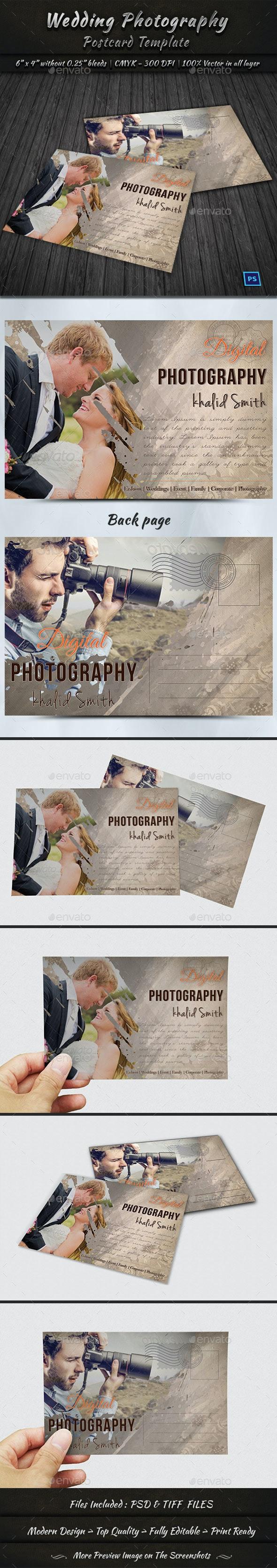 Wedding Photography Postcard Template - Cards & Invites Print Templates