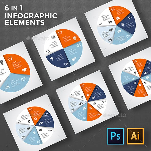 Circle Diagrams Infographic. PSD, EPS, AI.