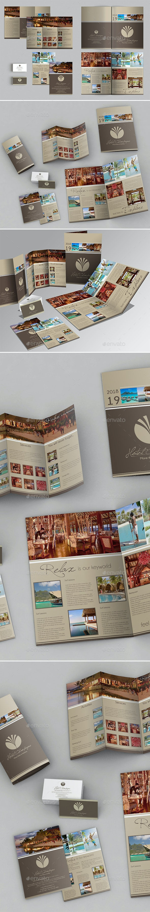 A3 + A4 Trifold Brochure + Business Card - Corporate Brochures