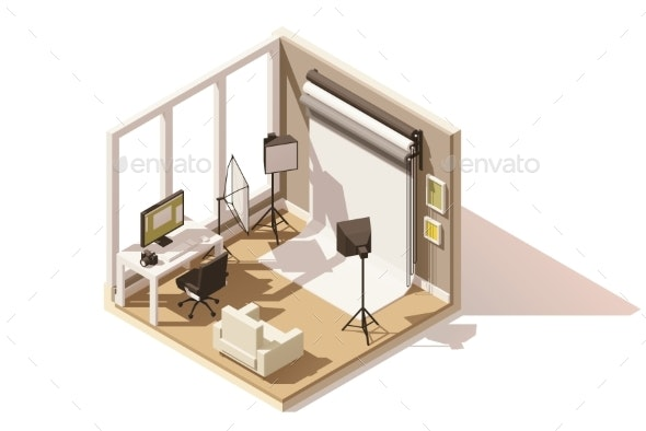 Vector Isometric Low Poly Photo Studio Room Icon - Buildings Objects