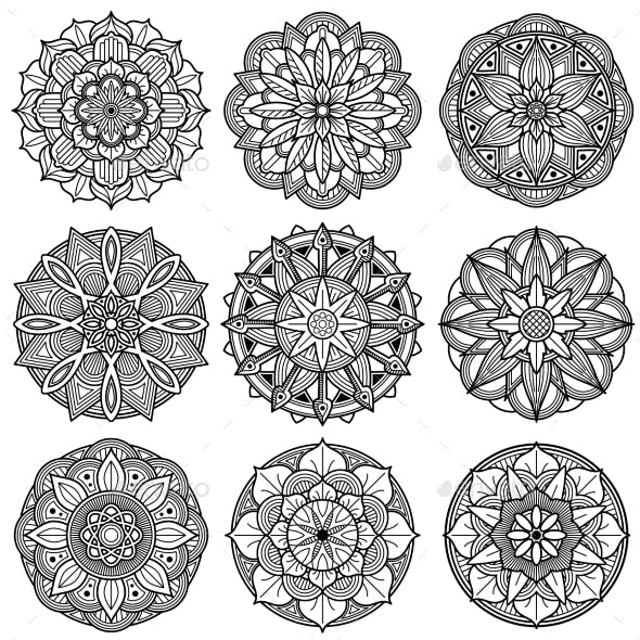 Indian Meditation Mandala Patterns Vector Set