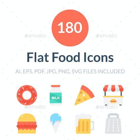 180 Flat Food Icons