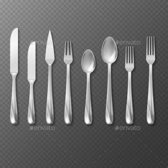 Vector Realistic Cutlery Set Silver or Steel Fork