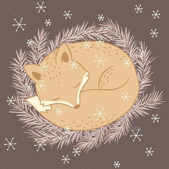 Winter Sleeping Fox - Animals Characters