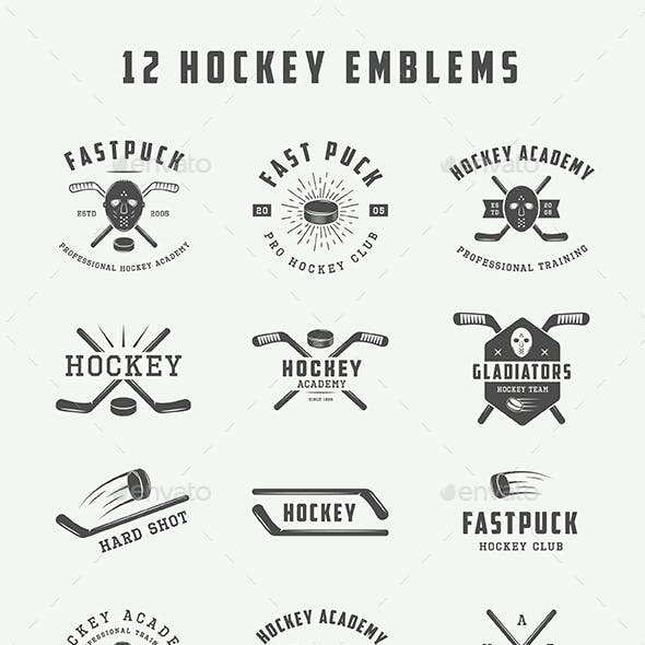 12 hockey emblems