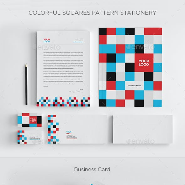 Colorful Squares Pattern Stationery