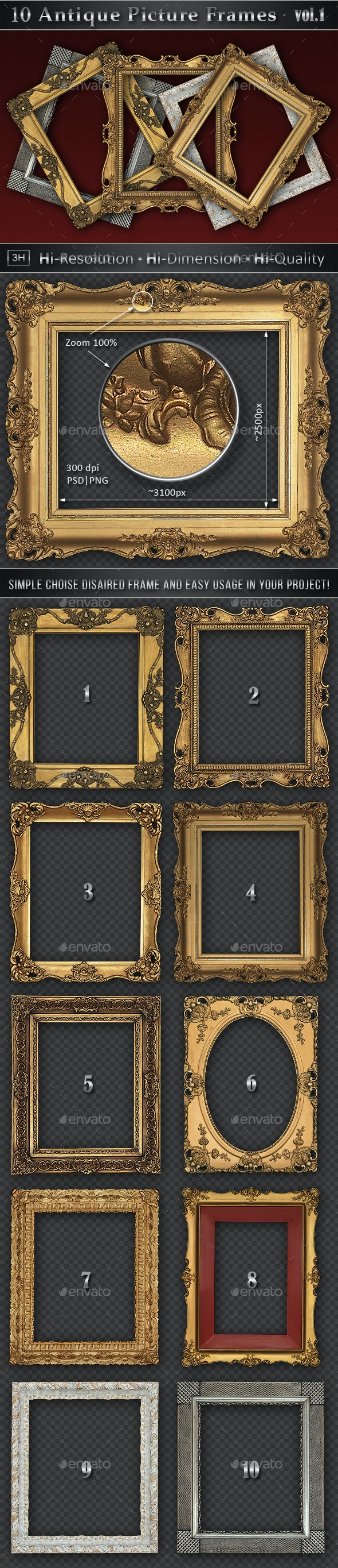 10 Antique Classic Picture Frames vol.1 - Home & Office Isolated Objects