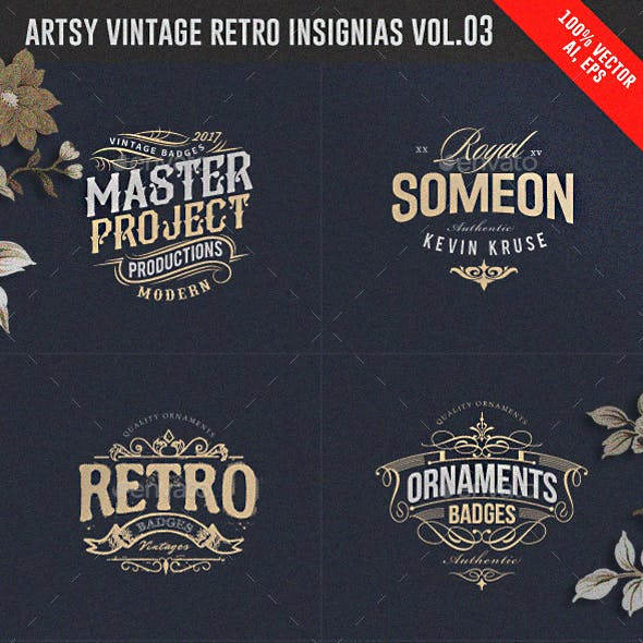 Artsy Vintage Retro Insignia and Logos Vol.03