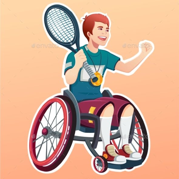 Young Male Disabled Tennis Player. Sport Concept