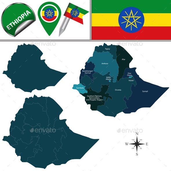 Map of Ethiopia with Named Regions