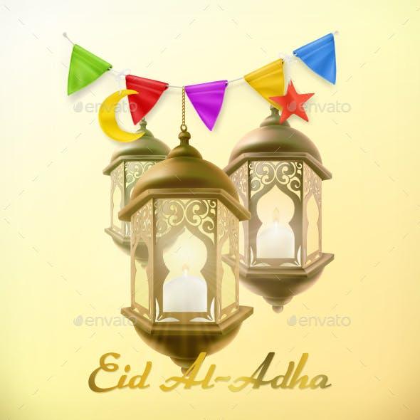 Muslim Holiday Eid Al-Adha Greeting Card with Lamp