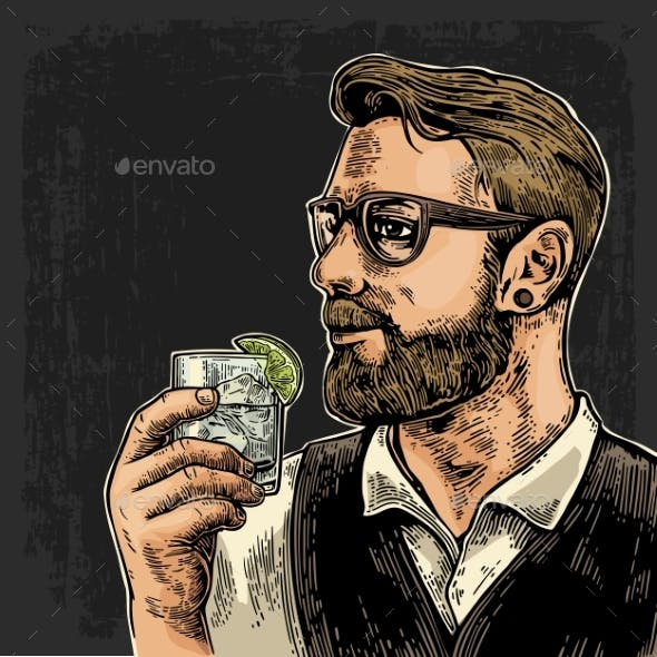 Hipster Holding a Glass of Gin