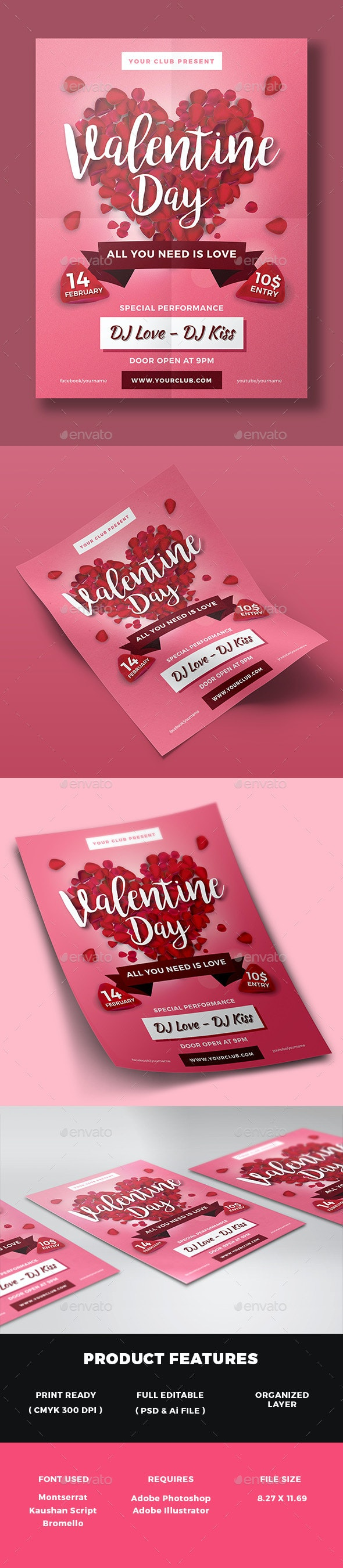 Valentines Day Party Flyer - Clubs & Parties Events