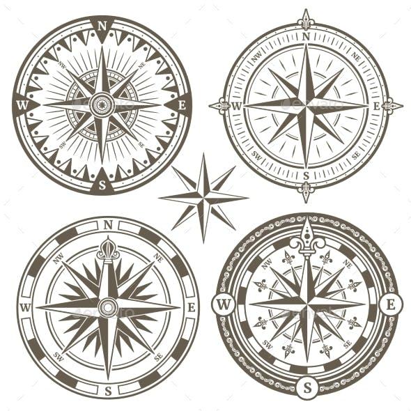 Old Sailing Marine Navigation Compass Wind Rose
