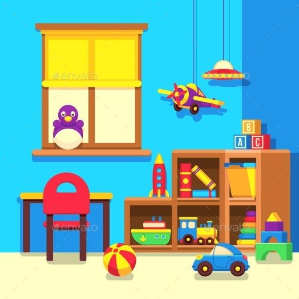 Preschool Kindergarten Classroom with Toys Cartoon