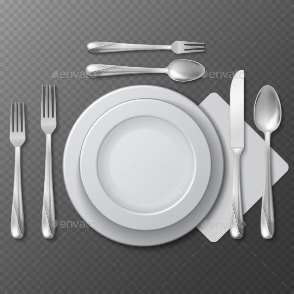 Realistic Empty Round Plate Set