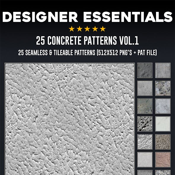 25 Tileable / Seamless Concrete Patterns