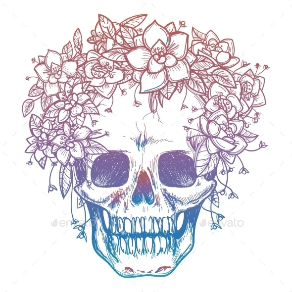 Colorfull Skull and Flower Headdress - Miscellaneous Conceptual