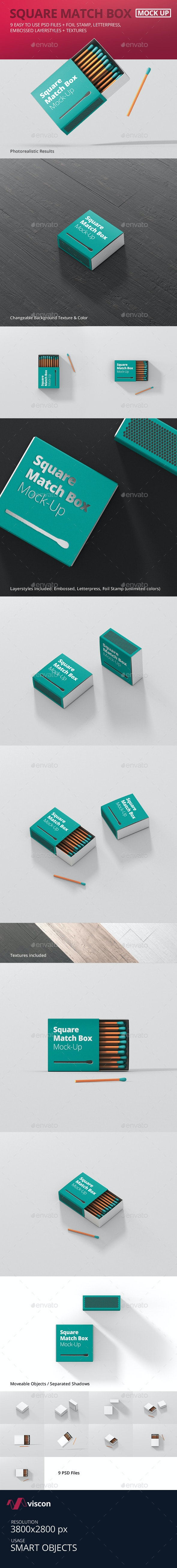 Square Match Box Mockup - Miscellaneous Packaging