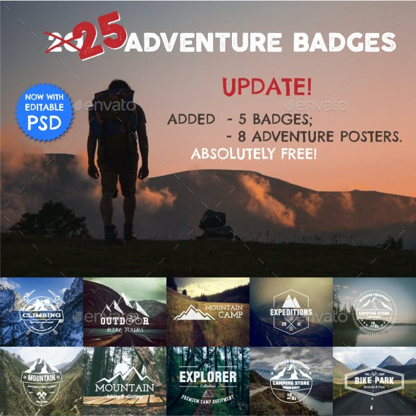 25 Adventure Badges & Logo