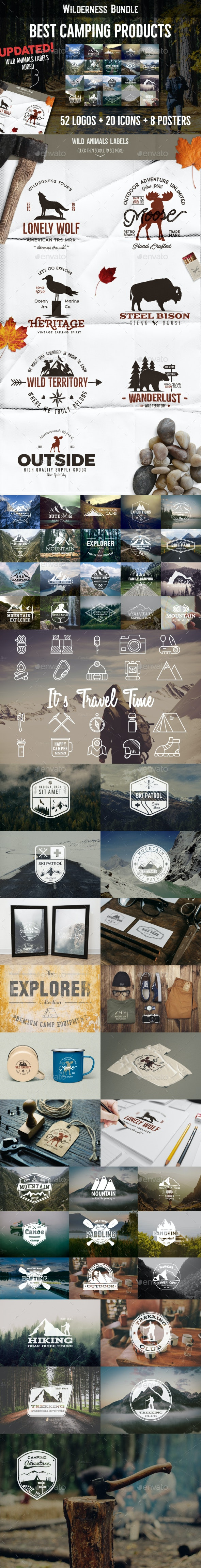52 Camping Logos + 20 Icons.Bundle - Badges & Stickers Web Elements