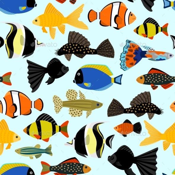 Fishes Seamless Pattern. Cartoon Aquarium