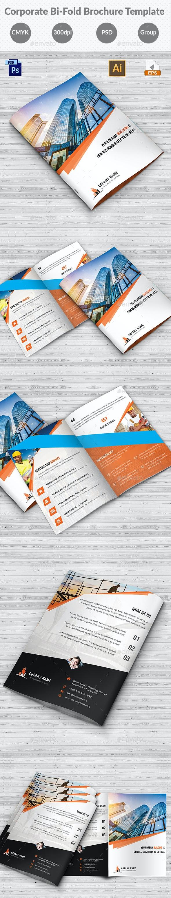 Construction Bi-Fold Brochure Template - Corporate Brochures