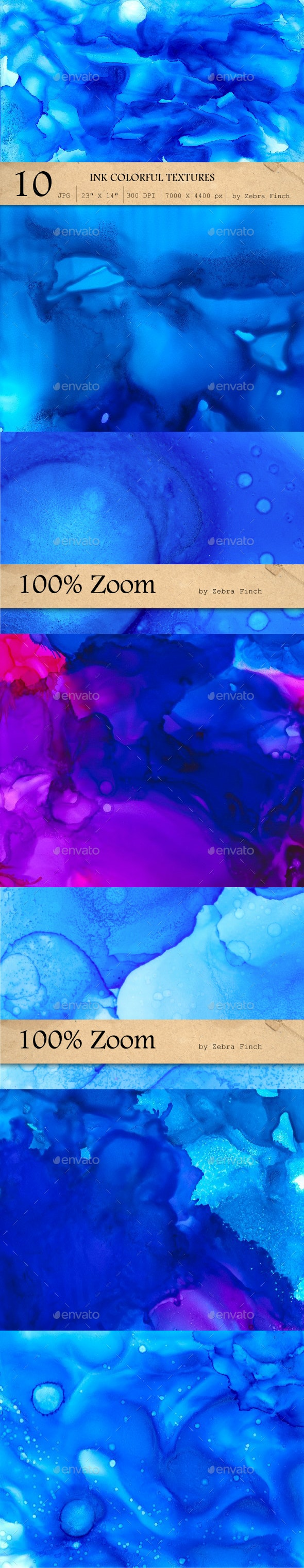 10 Blue Paint Textures - Abstract Backgrounds