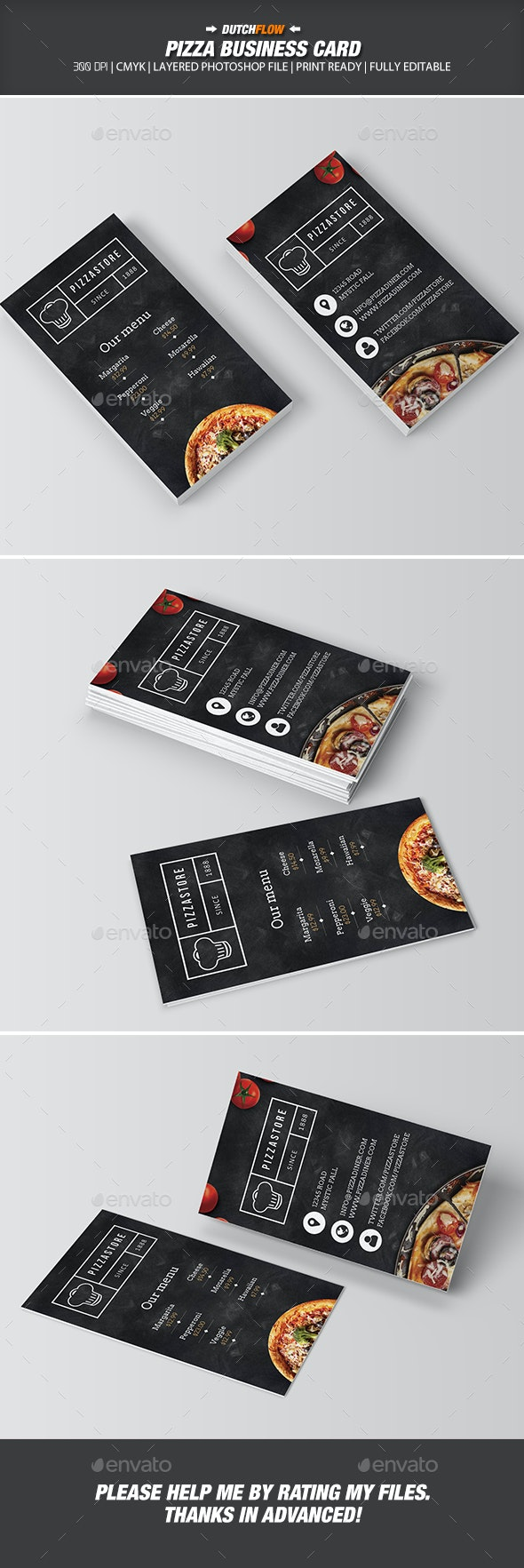 Pizza Business Card - Industry Specific Business Cards