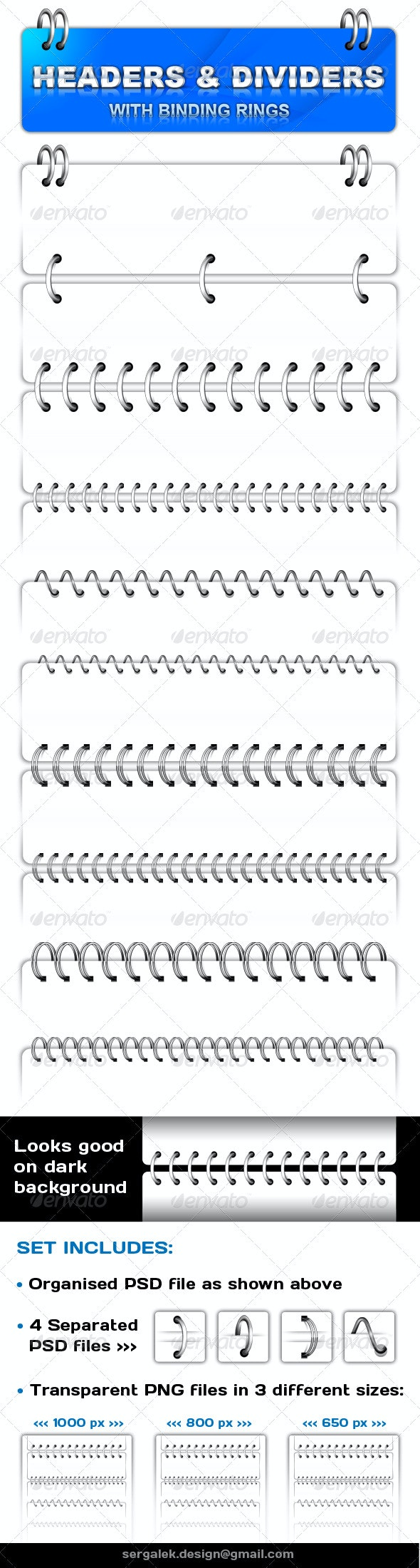 Headers & Dividers with Binding Rings  - Miscellaneous Web Elements