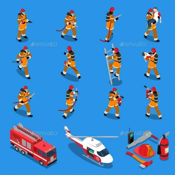 Fireman Isometric Set