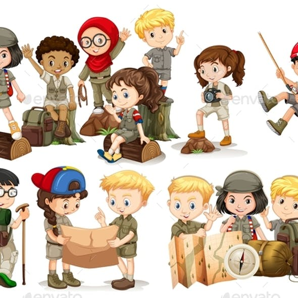 Boys and Girls in Camping Outfit