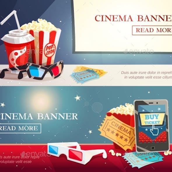 Cinema Entertainment Flat Horizontal Banners