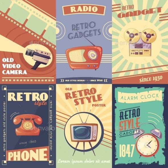 Retro Gadgets Cartoon Posters - Backgrounds Decorative