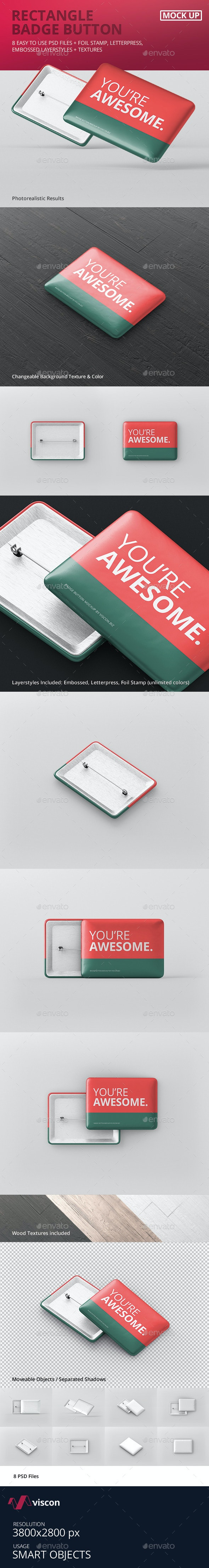 Rectangle Badge Button Mockup - Stationery Print