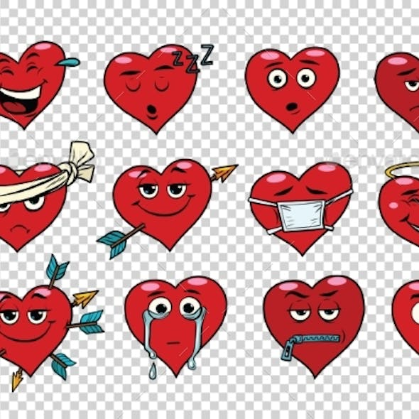 Red Heart Valentine Set of Characters