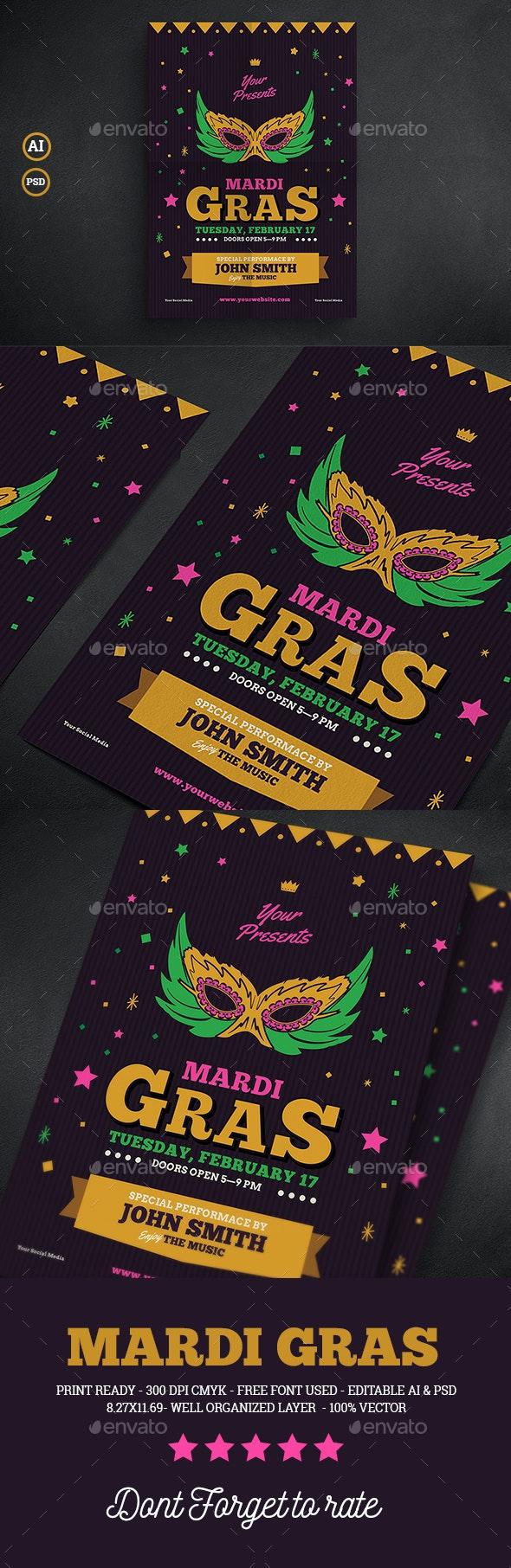 Mardi Gras Event Flyer - Events Flyers